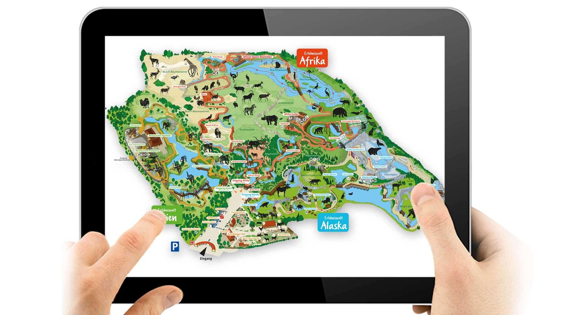 Illustration Freizeitpark Übersichtsplan