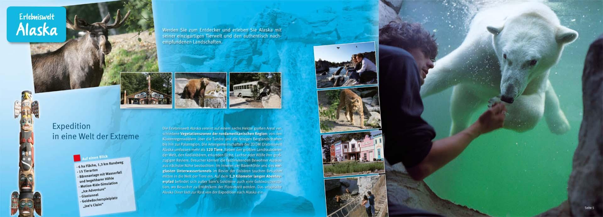 Erlebniswelt Alaska, Inhalt der Gruppenbroschüre der ZOOM Erlebniswelt