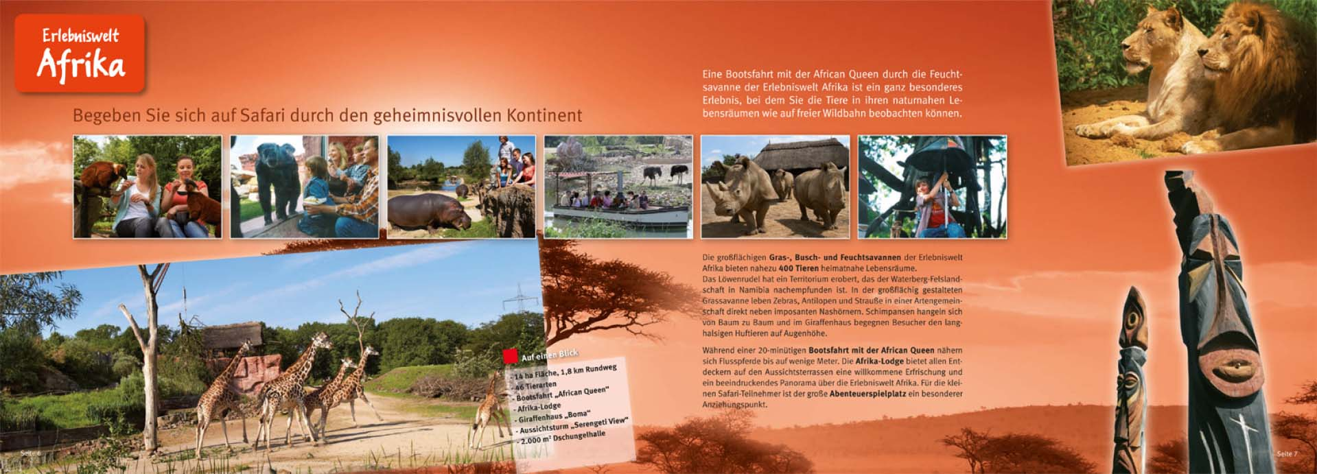 Erlebniswelt Afrika, Inhalt der Gruppenbroschüre der ZOOM Erlebniswelt