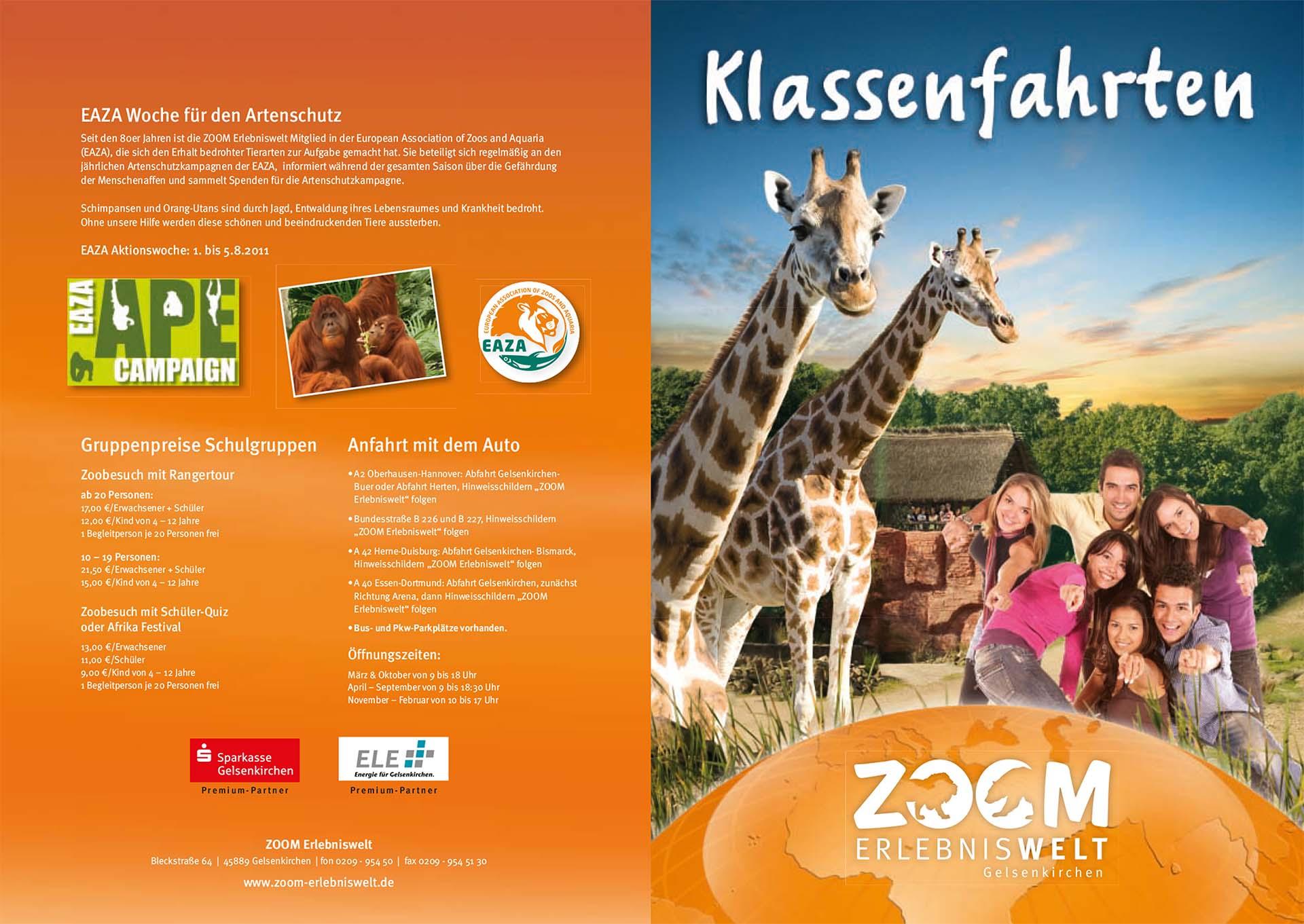 ZOOM Erlebniswelt Broschüre zur Information von Schulausflügen in den Zoo.