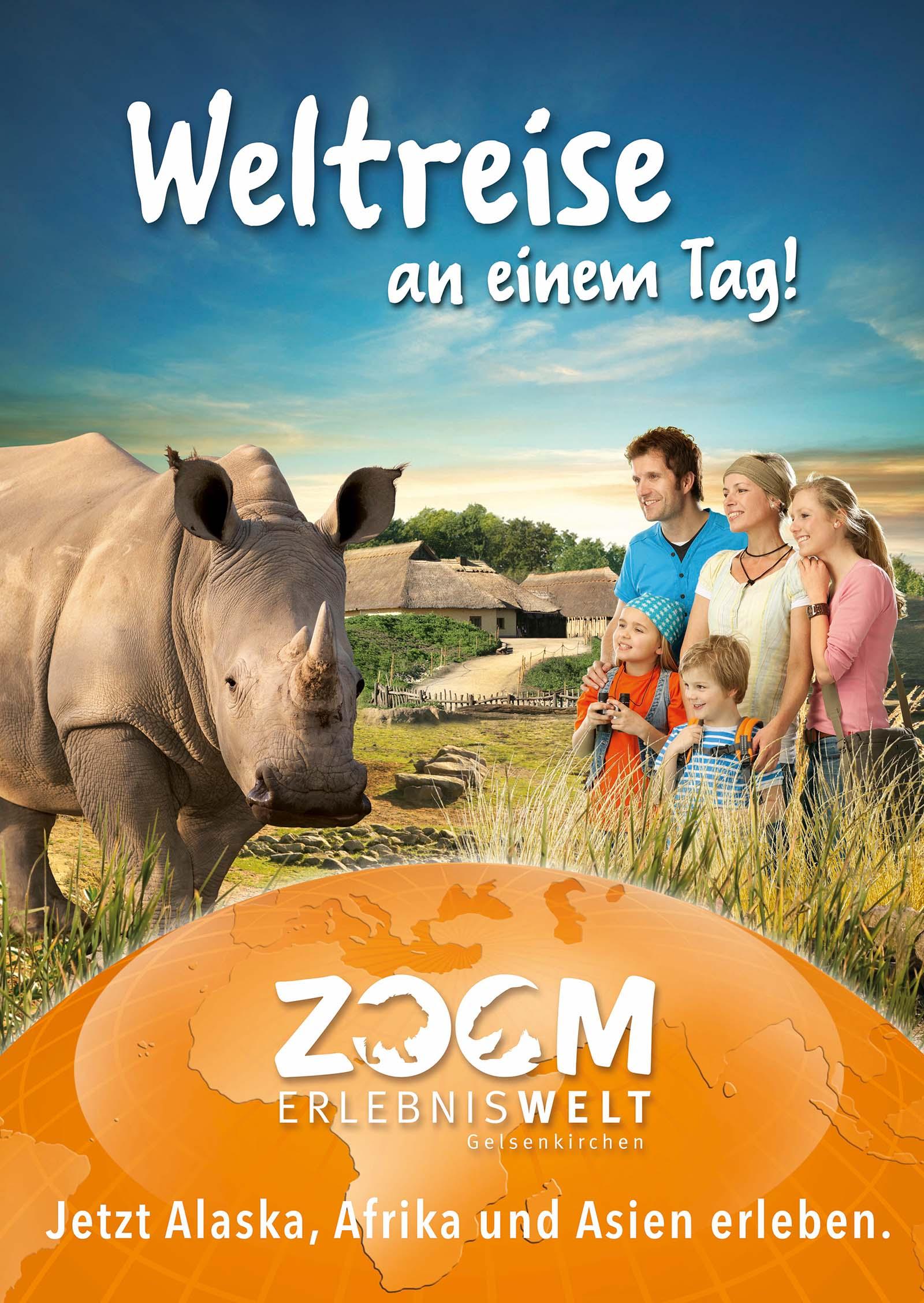 Werbekampagne zur Mensch-Tier Begegnung in der ZOOM Erlebniswelt.