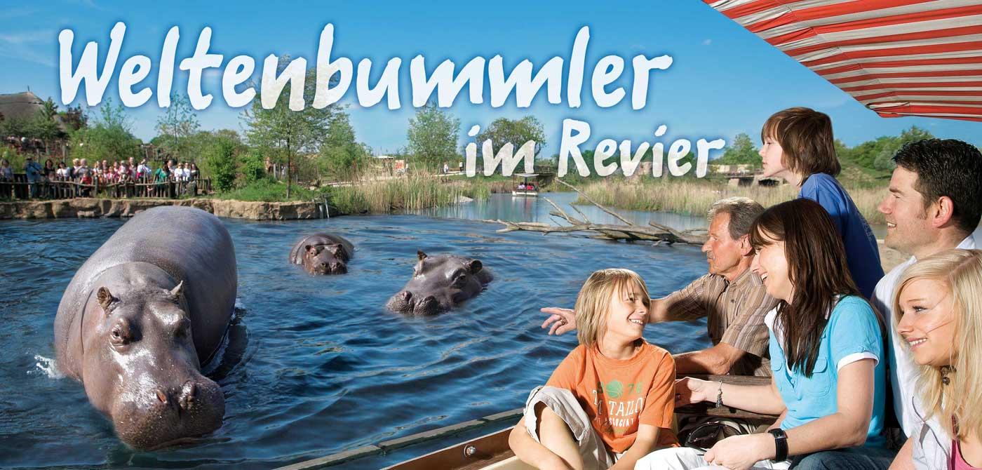 Familie begegnen Flusspferd im Wasser in einem Boot, ZOOM Erlebniswelt