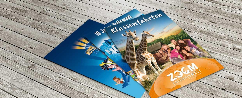 Broschüren und Flyer für Freizeitunternehmen
