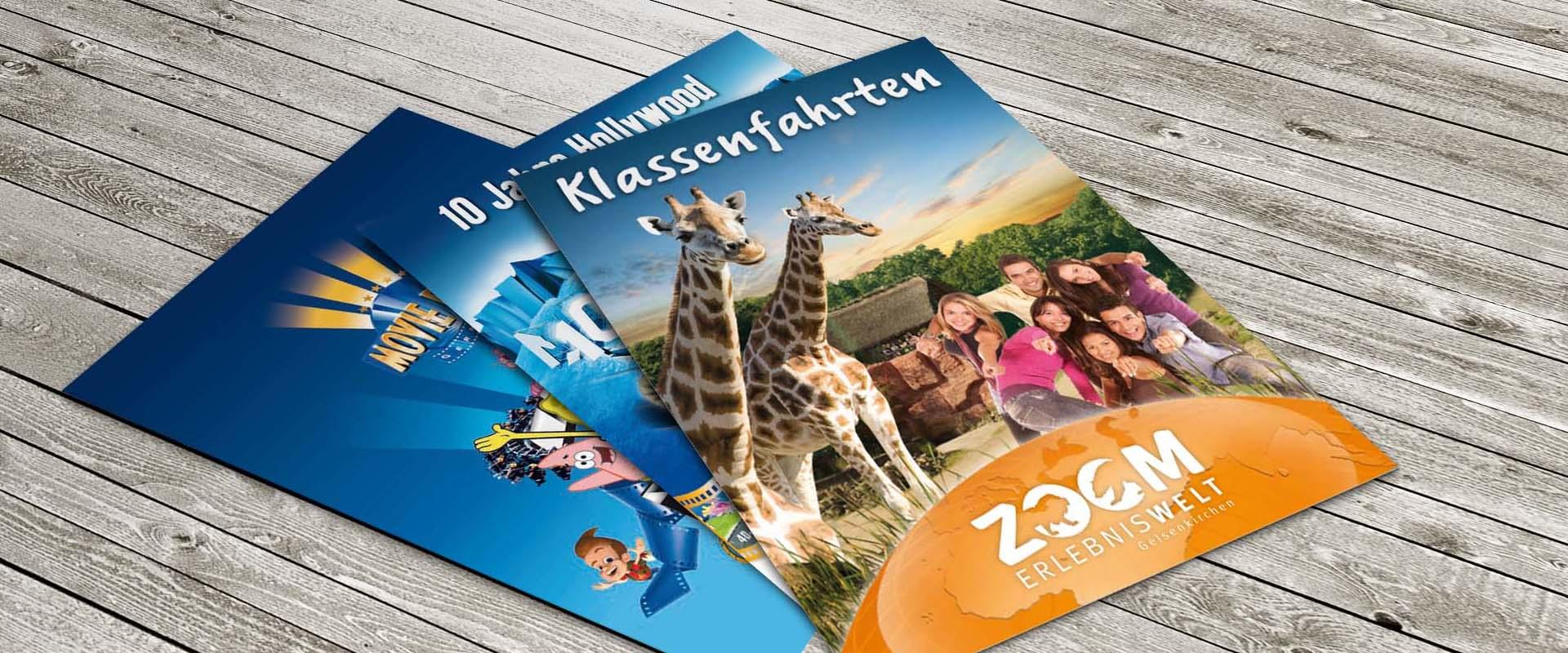 Broschüren für den Movie Parke und die ZOOM Erlebniswelt Gelsenkirchen