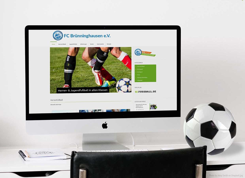 Neue Website FC Brünninghausen Dortmund auf dem Bildschirm