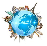 Grafische Darstellung einer Weltkugel - Panoramaillustrationen