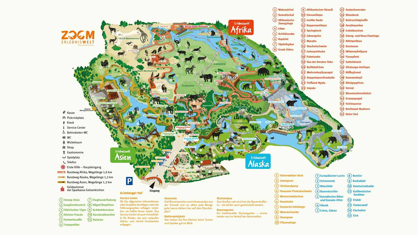 illustration Zooplan, Wegweiser für den Besucher