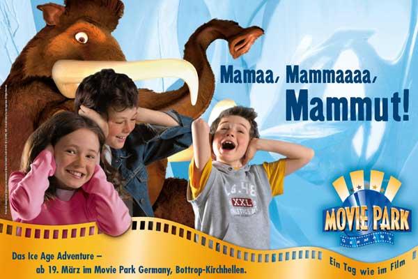 Werbekampagne Ice Age im Movie Park Germany