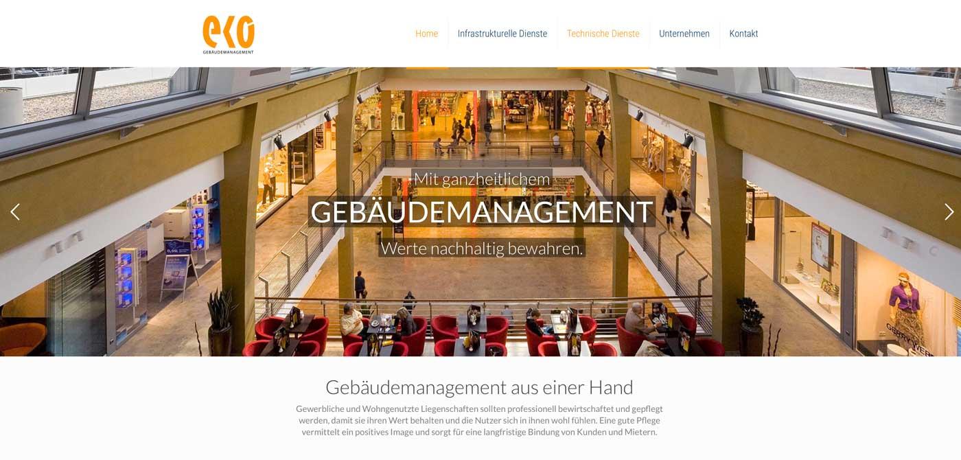 Screenshot der Homepage von EKO Gebäudemanagement