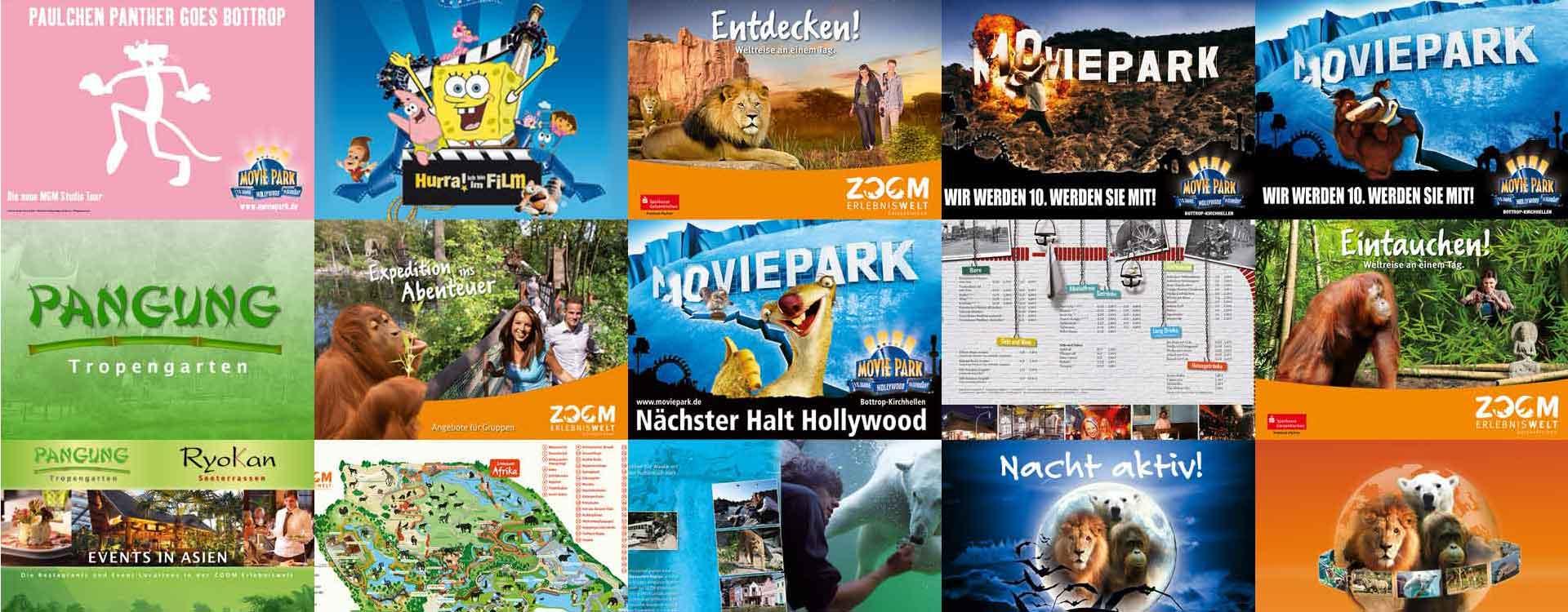 Collage von Werbemotiven aus Freizeitunternehmen