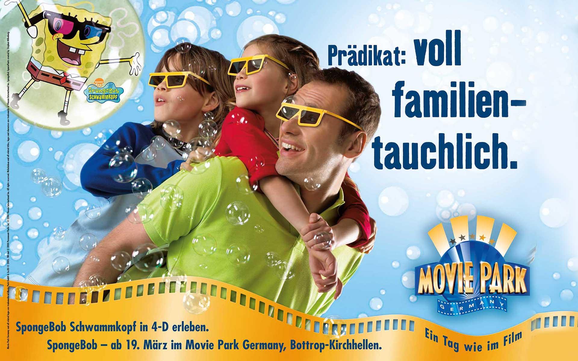 Außenwerbung Dortmund; Motiv Sponge Bob, Konzept für den Movie Park