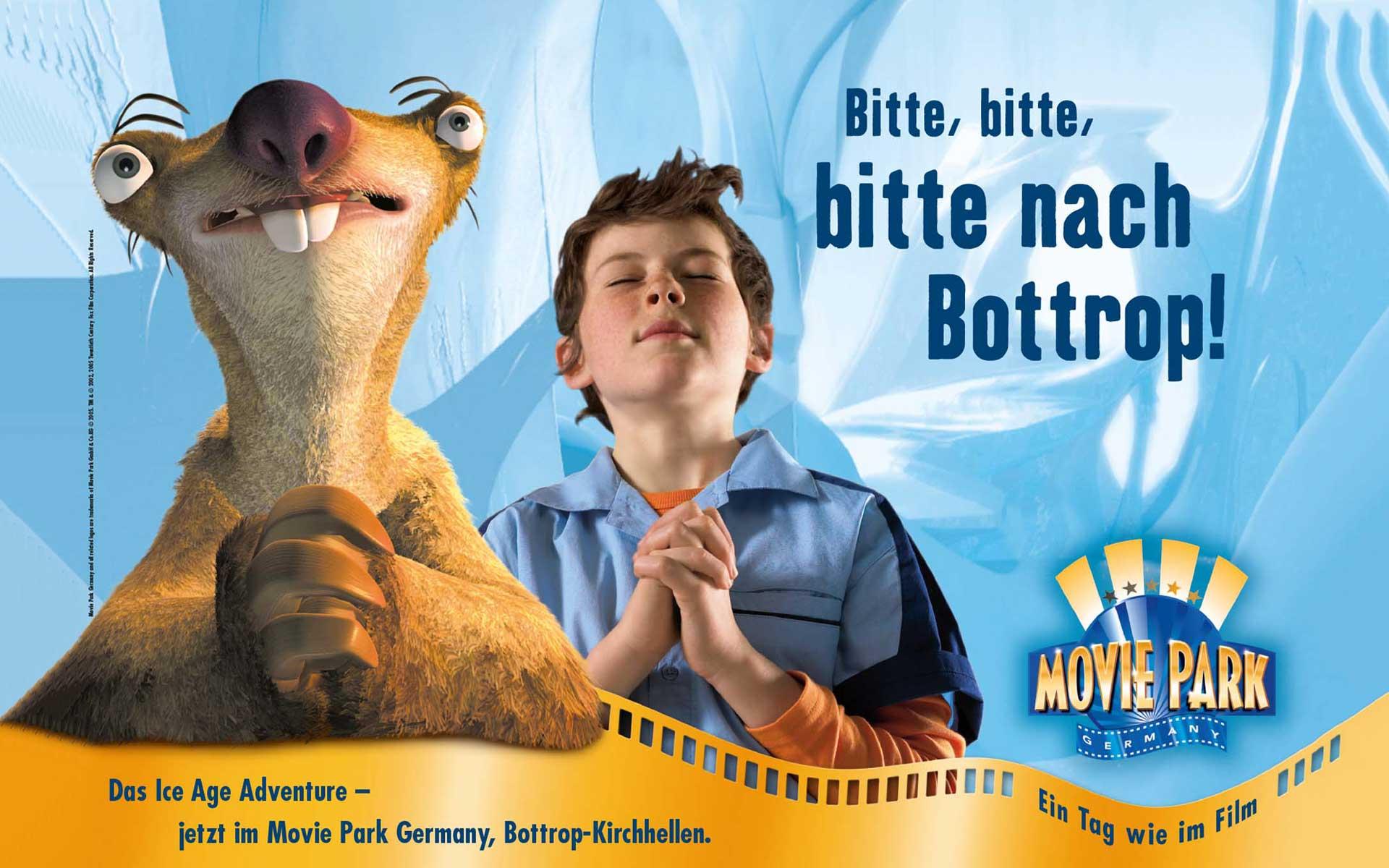 Aussenwerbung Konzept; Motiv Ice Age; Movie Park Germany